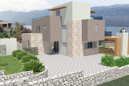 Vinjerac - zemljište prvi red do mora s građevinskom dozvolom, 987 m2