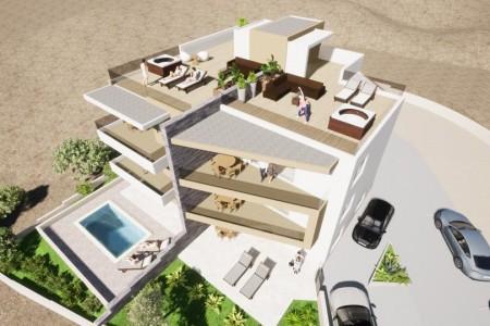 Vinjerac - novi luksuzni apartman s krovnom terasom, prvi red do mora, 102 m2