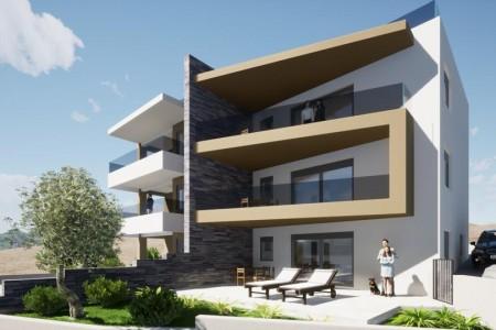 Vinjerac - novi luksuzni apartman s krovnom terasom, prvi red do mora, 103 m2