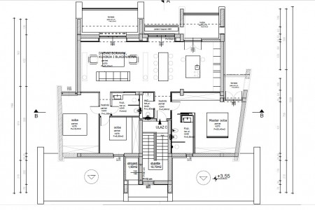 Brodarica - trosoban apartman drugi red do mora, 118 m2